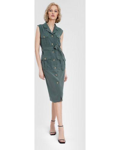 Зеленое платье-рубашка с поясом без рукавов Ostin
