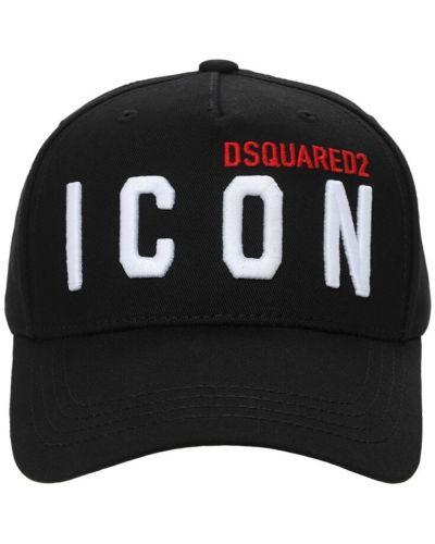 Bawełna bawełna czarny kapelusz Dsquared2