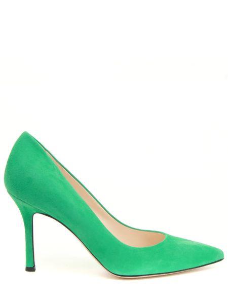Кожаные зеленые туфли-лодочки с декоративной отделкой на каблуке Marc Ellis