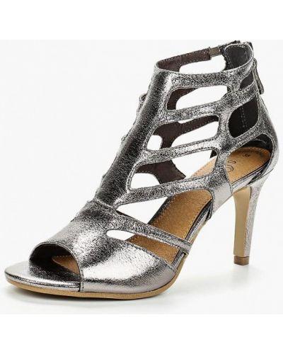 Босоножки на каблуке серебряного цвета S.oliver