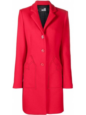 Шерстяное пальто - красное Love Moschino