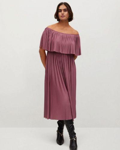 Фиолетовое платье со спущенными плечами Violeta By Mango