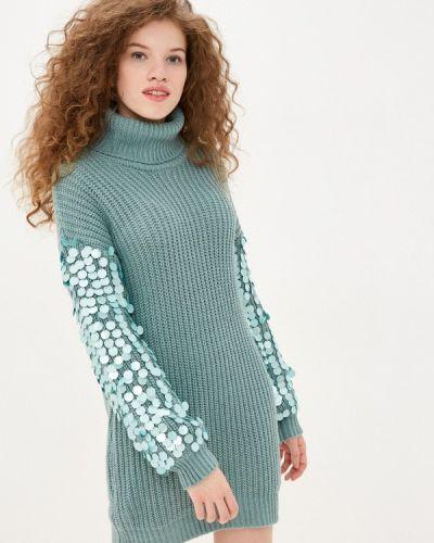 Бирюзовое трикотажное вязаное платье Sh