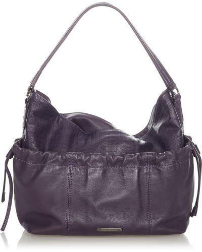 Fioletowa torba na ramię skórzana Burberry Vintage