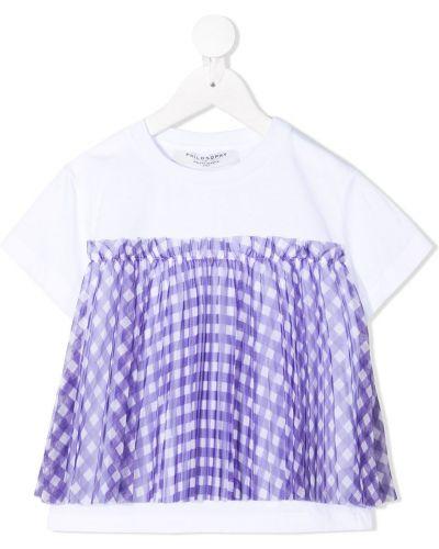 Хлопковая белая футболка с короткими рукавами Philosophy Di Lorenzo Serafini Kids