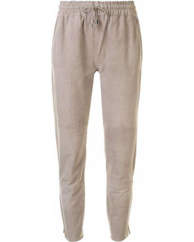 Кожаные зауженные серые брюки с поясом Arma