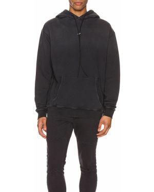 Czarny sweter z kapturem z haftem Zanerobe
