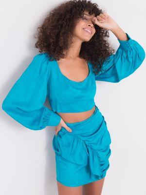 Spódnica z falbanami z wiskozy turkusowa Fashionhunters