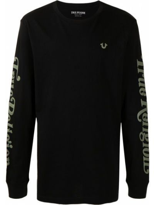 T-shirt z printem - czarna True Religion