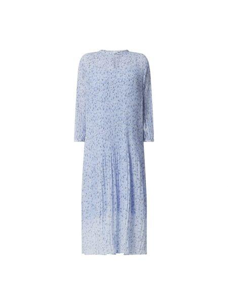 Sukienka midi z szyfonu - niebieska Modström