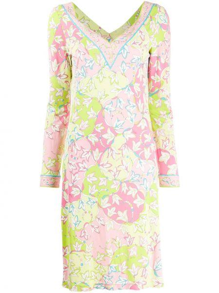 Платье с длинными рукавами с V-образным вырезом на молнии эластичное Emilio Pucci Pre-owned