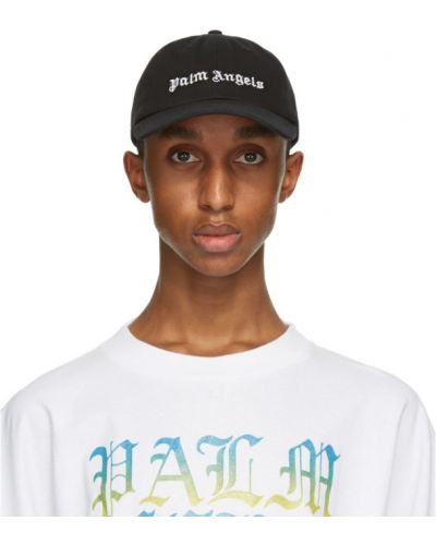 Czarna czapka z haftem bawełniana Palm Angels