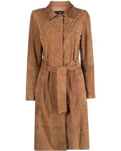 Коричневое кожаное пальто классическое с воротником Arma