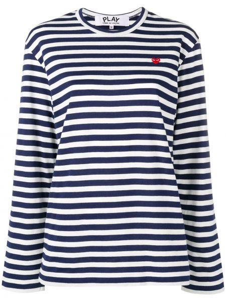 Bawełna niebieski koszula z haftem okrągły dekolt Comme Des Garcons Play