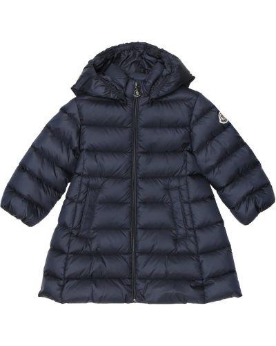 Puchaty ciepły niebieski płaszcz Moncler Enfant