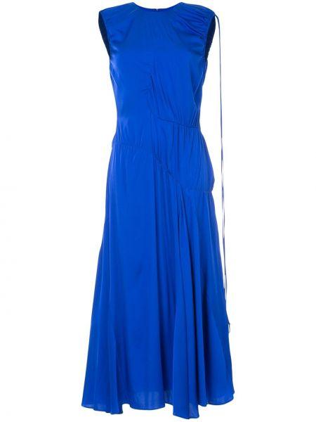 Niebieska sukienka asymetryczna z jedwabiu Ellery