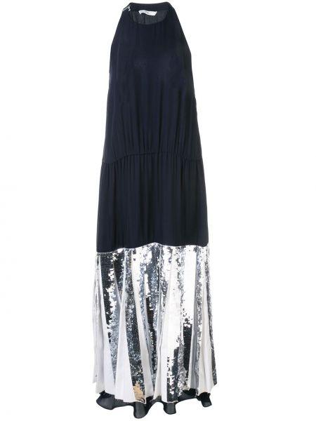 Черное шелковое платье с пайетками с вырезом Tibi
