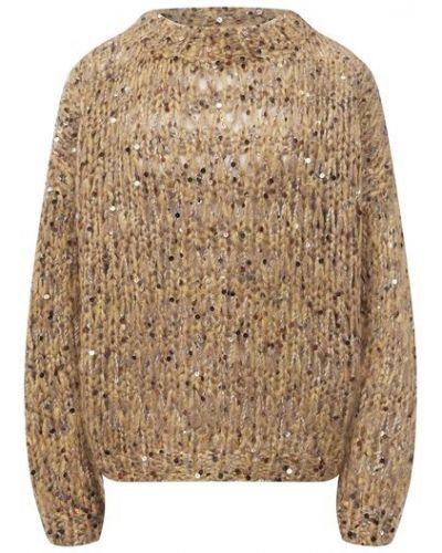 Желтая хлопковая свитер Brunello Cucinelli