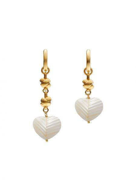 Złote kolczyki sztyfty perły pozłacane Brinker & Eliza