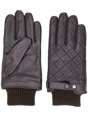 Brązowe rękawiczki skorzane z diamentem Barbour
