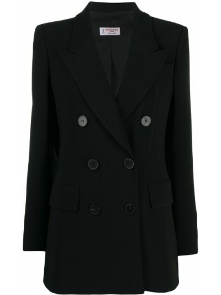 Приталенный черный классический пиджак двубортный Alberto Biani
