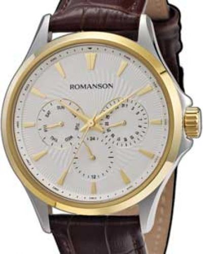 Часы водонепроницаемые с кожаным ремешком Romanson