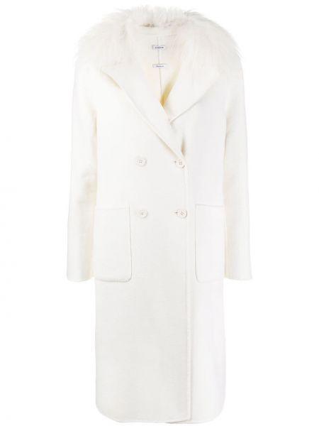 Шерстяное белое длинное пальто двубортное P.a.r.o.s.h.