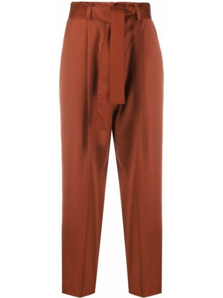 Коричневые свободные брюки свободного кроя с завязками с высокой посадкой Pt01