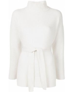 Белый кашемировый свитер со спущенными плечами с поясом Agnona
