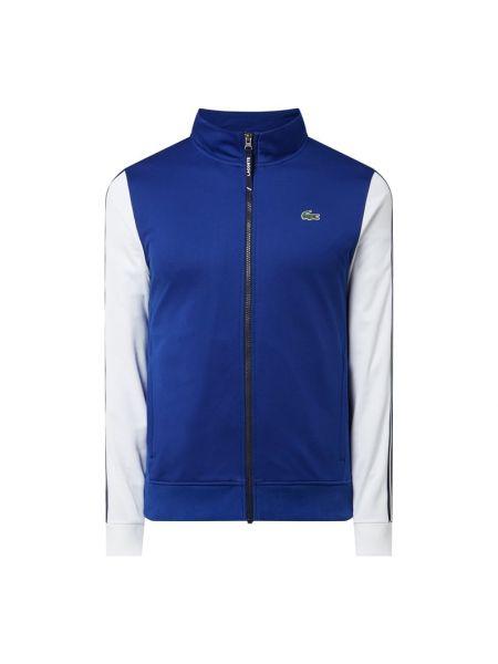 Prążkowana niebieska kurtka sportowa Lacoste
