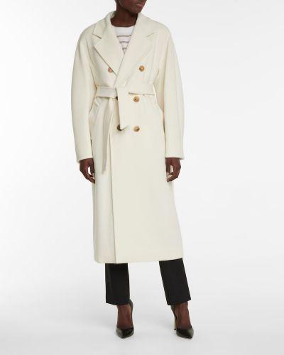 Белое шерстяное пальто классическое свободного кроя Max Mara