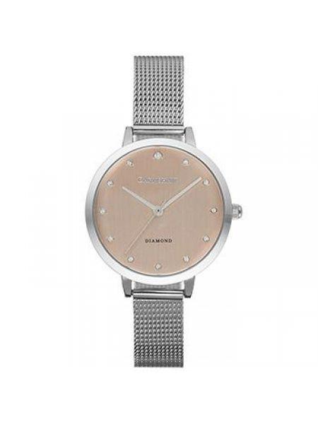 Со стрелками розовые кварцевые часы круглые с бриллиантом Earnshaw
