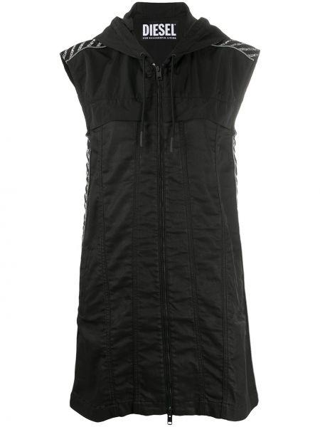 Черное платье мини без рукавов с капюшоном Diesel