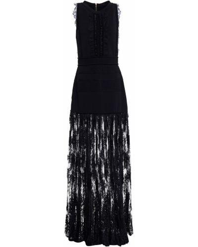 Кружевное платье макси из вискозы на крючках Elie Saab