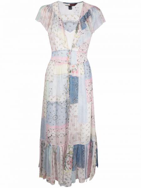 Шелковое синее платье миди пэчворк Hilfiger Collection