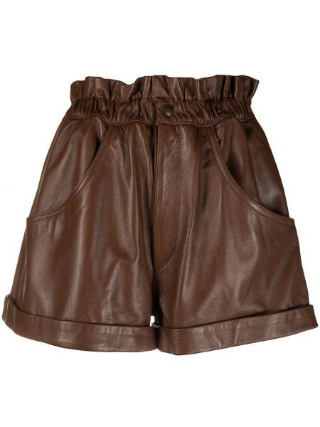 Brązowe szorty skorzane rozkloszowane Forte Dei Marmi Couture