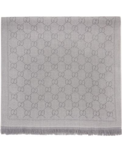 Серый шерстяной шарф прямоугольный Gucci