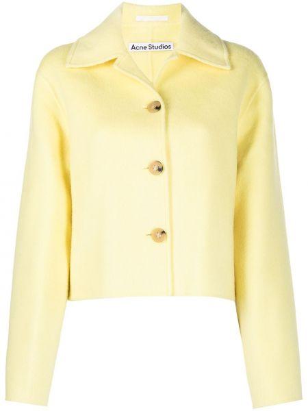 Шерстяной желтый классический пиджак с воротником Acne Studios