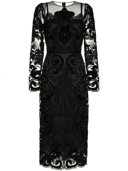 Шелковое классическое платье миди прозрачное на молнии Dolce & Gabbana
