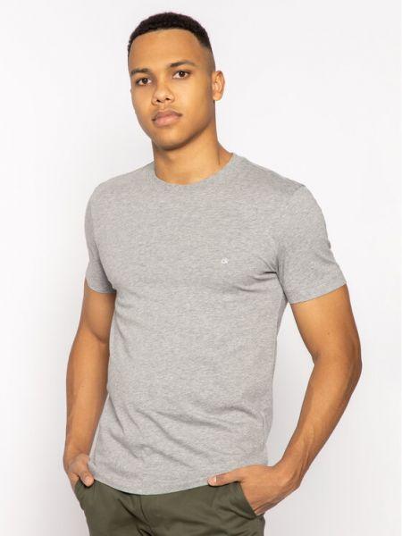 Szary t-shirt z haftem Calvin Klein