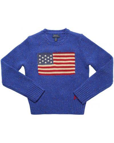 Niebieski wełniany sweter Ralph Lauren