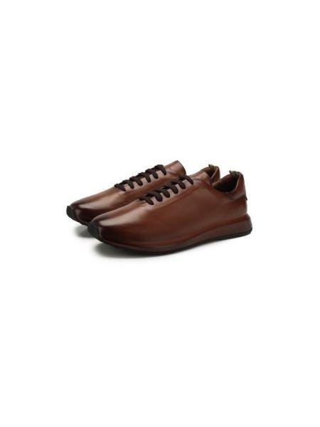 Коричневые кожаные кроссовки с подкладкой Officine Creative