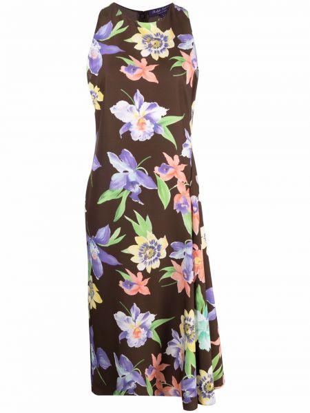 Коричневое шелковое платье миди в цветочный принт Ralph Lauren