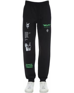 Czarne joggery bawełniane z printem Taboo