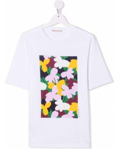 Biała t-shirt bawełniana Marni Kids