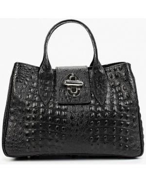 Кожаная сумка с ручками черная Roberto Buono