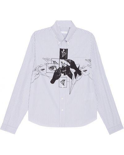 Рубашка с принтом хлопковая Prada