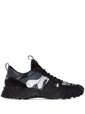 Skórzane sneakersy zamszowe czarne Valentino