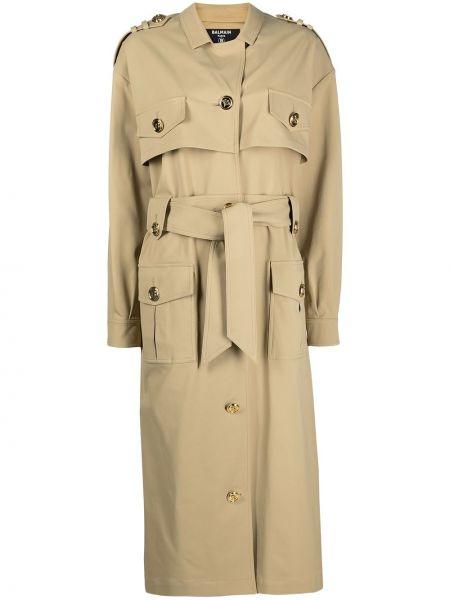 Бежевое длинное пальто с воротником с карманами Balmain