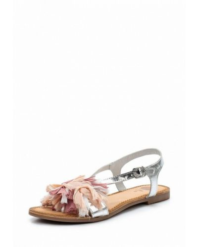 Кожаные сандалии серебряного цвета Gioseppo
